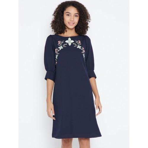 Buy Femella Navy Blue Solid Skater Dress online  4de9fab95