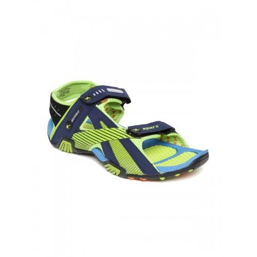 Sparx Navy & Green Floater Sandals