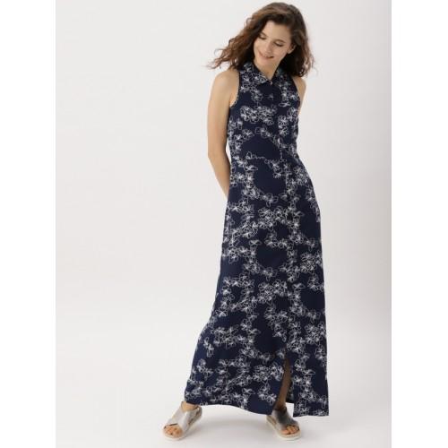 8990cb2edd Buy DressBerry Women Navy Blue Printed Maxi Dress online | Looksgud.in