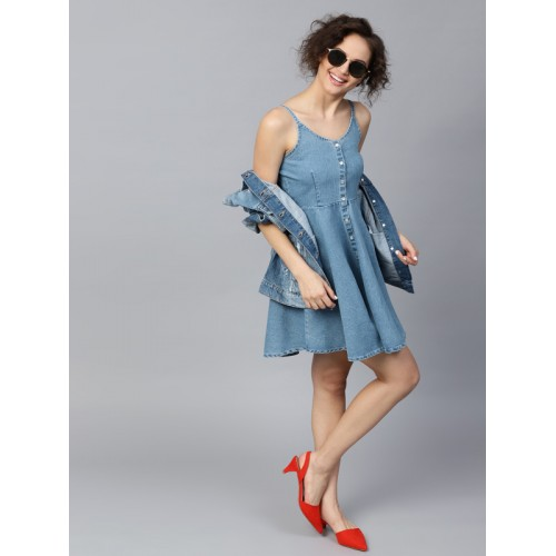 4966a32063633 Buy SASSAFRAS Women Blue Solid Denim Fit and Flare Dress online ...
