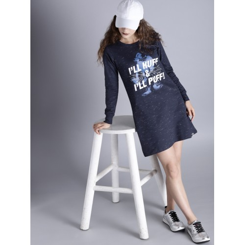Kook N Keech Disney Women Blue Printed T-shirt Dress