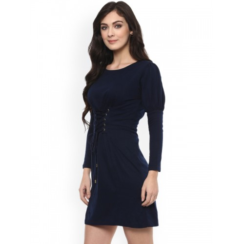 Zima Leto Women Navy Blue Solid A-Line Dress