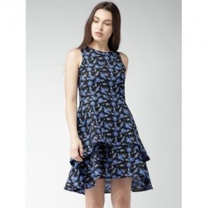 Mast & Harbour Women Blue & Black Printed Fit & Flare Dress