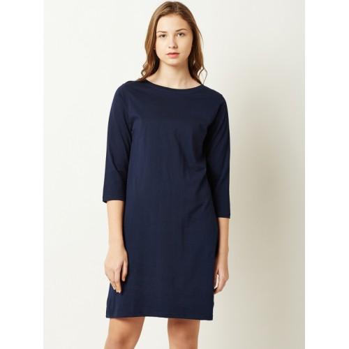 Miss Chase Women Navy Blue Solid Sheath Dress