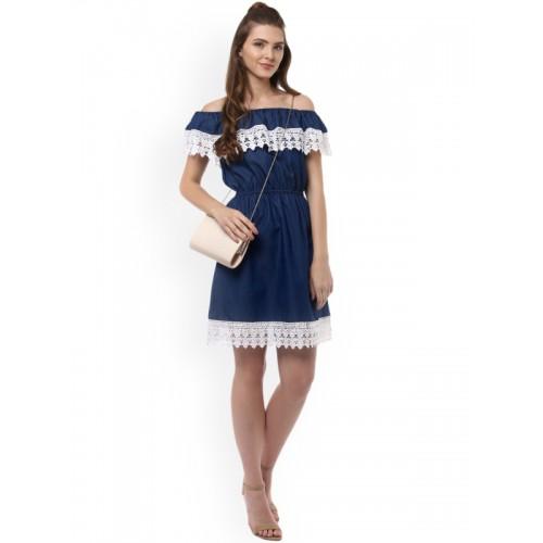 943c66b3409 Buy StyleStone Women Blue Solid Denim Fit & Flare Dress online ...