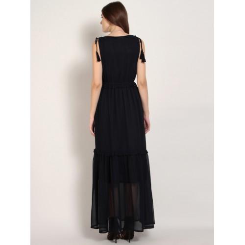 b887bdfe710 Buy RARE Women Navy Blue Solid Maxi Dress online