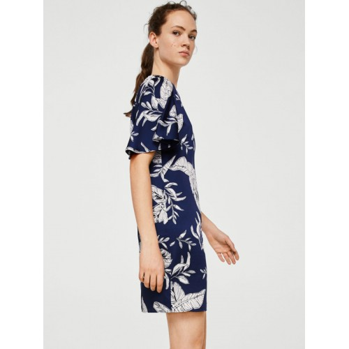 MANGO Women Navy Blue Printed A-Line Dress