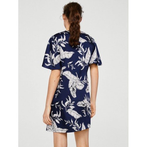 MANGO Women Navy Blue Printed A-Line Dress