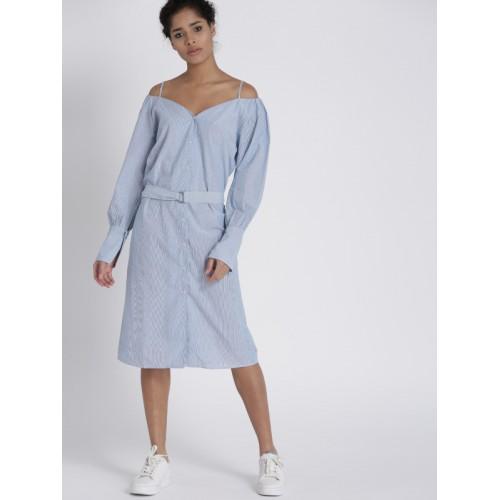 Chemistry Women Blue Striped Cold-Shoulder Dress