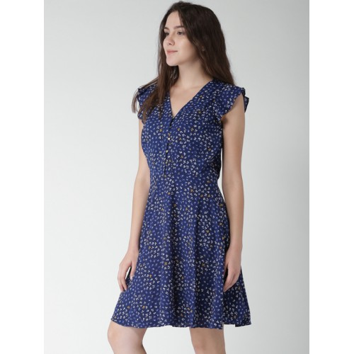 3001c7d0a7 Buy Tommy Hilfiger Women Navy Printed Fit & Flare Dress online ...