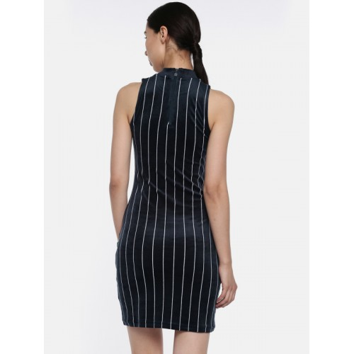 FILA Women Navy Striped Bodycon Dress