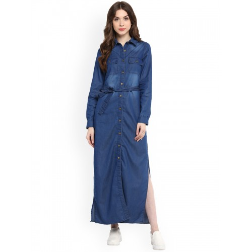 StyleStone Women Blue Denim Solid Maxi Dress