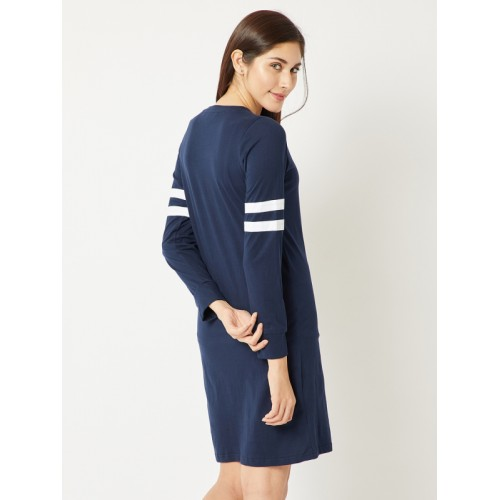 Miss Chase Women Navy Blue Solid T-shirt Dress