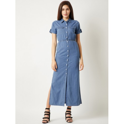 Miss Chase Women Blue Solid Denim Maxi Dress