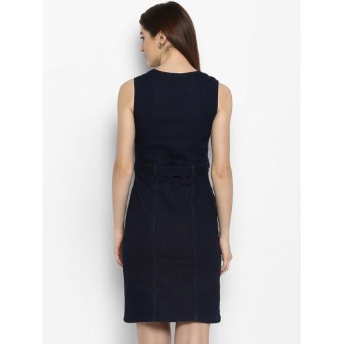 StyleStone  Blue Lycra Denim Zip Up Dress