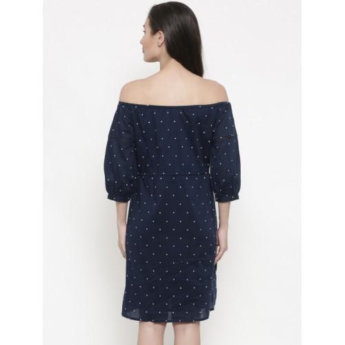 Global Desi Women Navy Blue Solid A-Line Dress