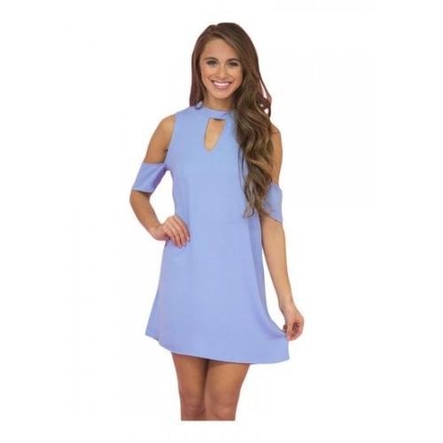ab853414b Buy Kaamastra Women s Artful Keyhole and Cold Shoulder Blue Dress ...
