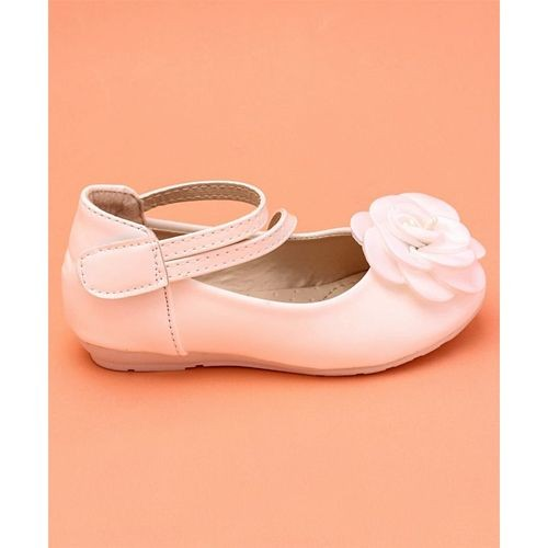 Cute Walk by Babyhug White Party Wear Belly Shoes Flower Applique