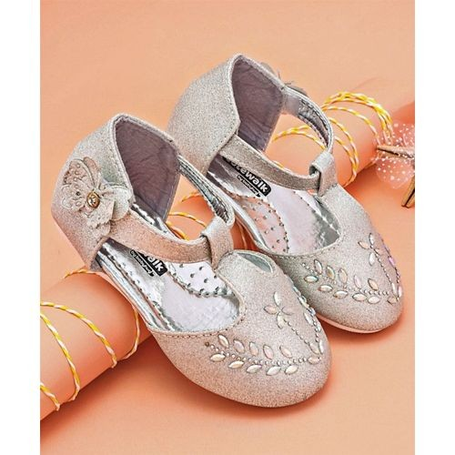 Cute Walk by Babyhug Silver Party Wear Belly Shoes Studded Floral Design