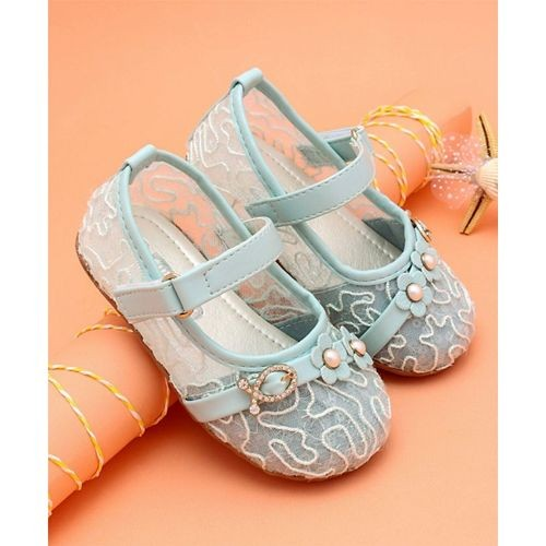31d8e6d7f ... Cute Walk by Babyhug Party Wear Belly Shoes Floral   Studded Detail -  Aqua ...