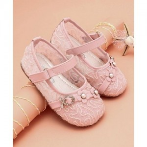 6a6a6f4af788 Cute Walk by Babyhug Pink Party Wear Belly Shoes Floral   Studded Detail