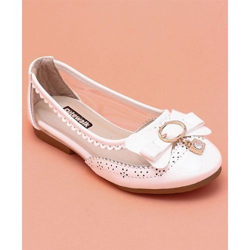 Cute Walk by Babyhug White Belly Shoes Bow Detail