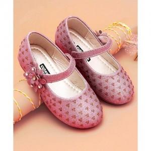 Cute Walk by Babyhug Cutewalk Pink Party Wear Mary Jane Floral Design Bellies