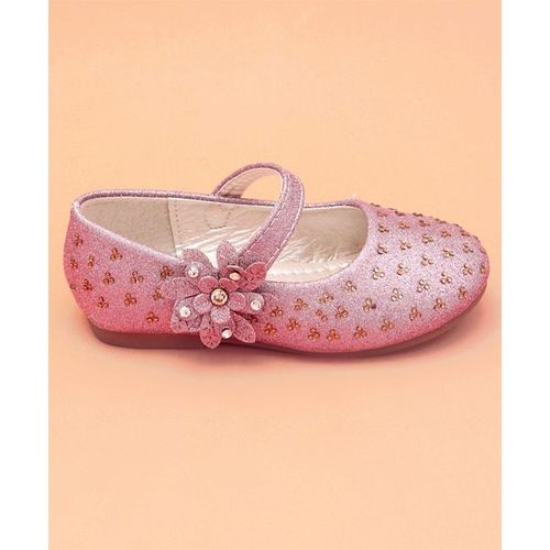 Cute Walk by Babyhug Cutewalk Pink Party Wear Mary Jane Floral Design Bellies