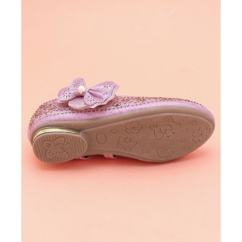 Cute Walk by Babyhug Pink Party Wear Belly Shoes Bow & Studded Detail