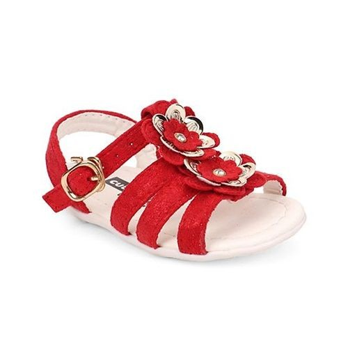 67f00043e63bf1 ... Cute Walk by Babyhug Red Sandals Floral   Pearl Applique Buckle Closure  ...
