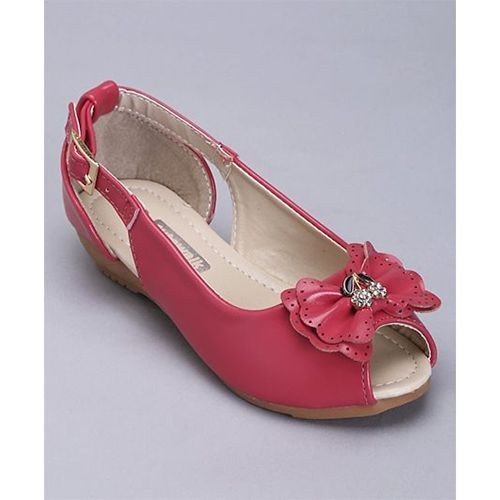 96f3c5a5a5d1 ... Cute Walk by Babyhug Cute Walk Pink Synthetic Peep Toes Bow Applique ...