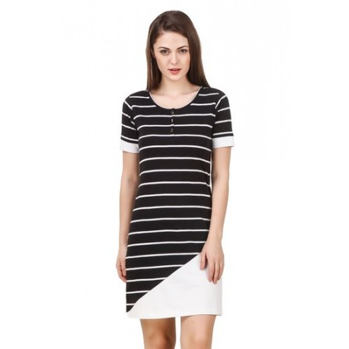 4ba2d4ce0 ... summer dress; Texco women's black & white striped asymetrical  constructed summer ...
