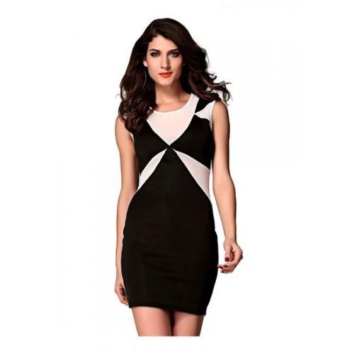 77ea3f568 Buy Kaamastra Women s Classic Black Geometrical Bodycon Dress online ...