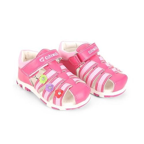 184f374d0f13be ... Cute Walk by Babyhug Pink Closed Toe Sandal Velcro Closure Floral Patch  ...