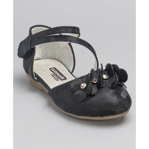 Cute Walk by Babyhug Black Party Wear Belly Shoes Floral Motifs