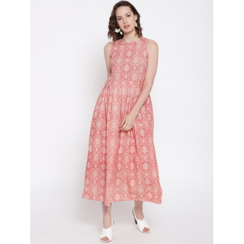 989f1fa016 Buy Fabindia Women Red & Off-White Printed Fit & Flare Dress online ...