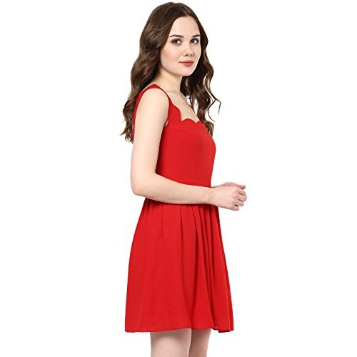 3264f393f523a2 ... Roving Mode Women s Sleeveless Georgette Scallop Detail Mini Dress ...
