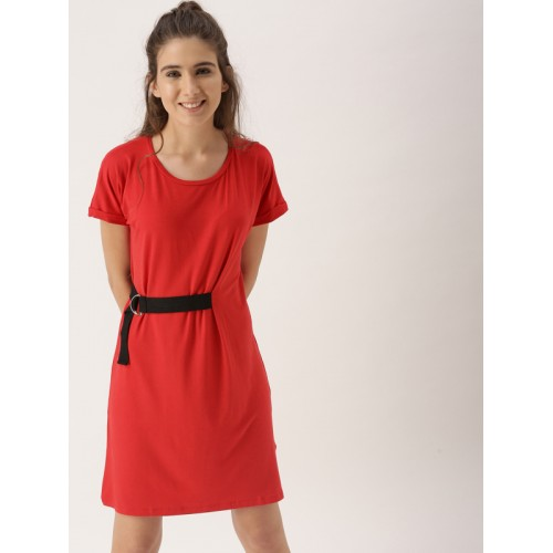 Dressberry Red Solid A-Line Dress