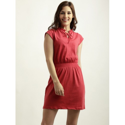 a2141a06d30 Buy Miss Chase Women s Red V-neck Cap Sleeve Solid Mini Shift Dress ...