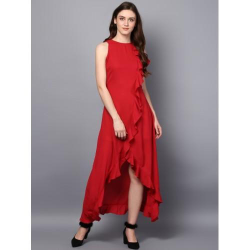 STREET 9 Women Red Solid Maxi Dress
