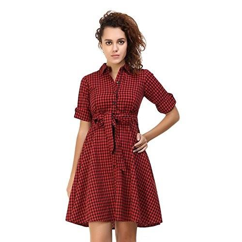 0c422fb2de1 ... Red   Black Small Checks Cold Shoulder Womens Dress By Twenty Whites