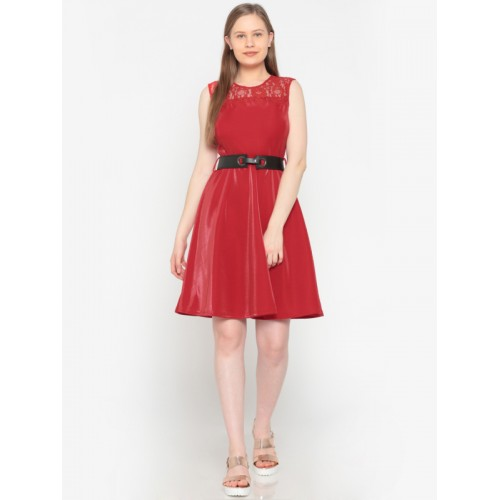 Deal Jeans Women Red Solid A-Line Dress