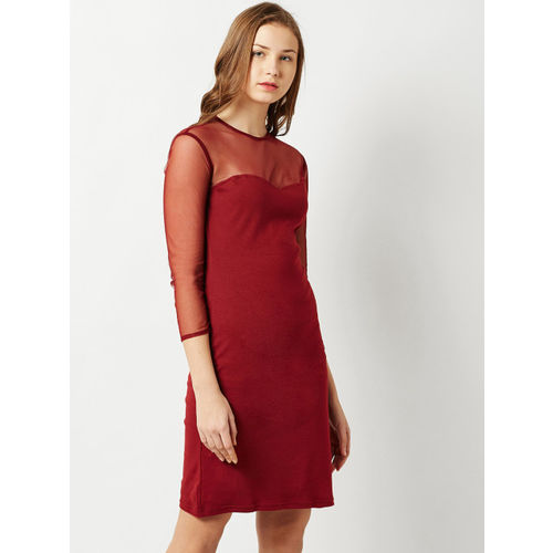 Miss Chase Women Maroon Solid Sheath Dress