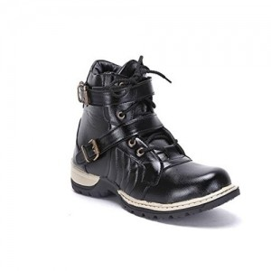 DLS Black Leather Solid Mid Ankle Boots
