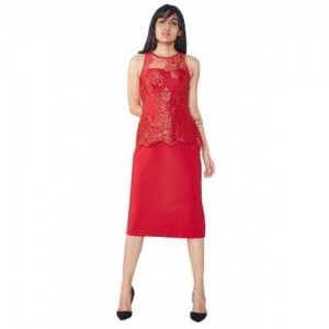 AND Red Lace Below Knee Dress