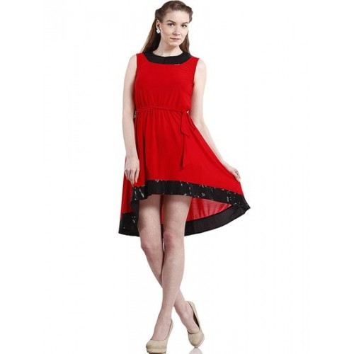 Buy Peptrends Red And Black Sequinned High Low Party Dress Online