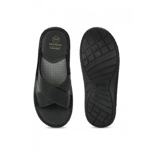 1b042ee43f8d Buy Red Tape Men Black Comfort Leather Sandals online