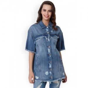 ONLY Women Blue Solid Shirt Dress
