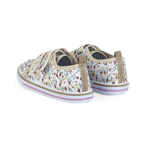 Cute Walk by Babyhug Canvas Shoes Floral Print & Bunny Motif - Dark Cream