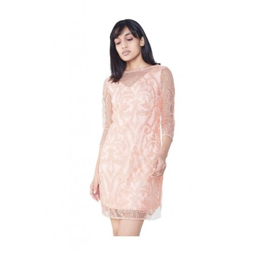 4d8641c6ae17 Buy AND Peach Lace Mini Dress online | Looksgud.in